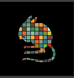 jerboa rodent mammal color silhouette animal vector image