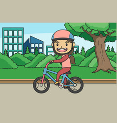 learning bicycle at park children book vector image