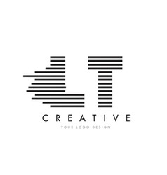 lt l t zebra letter logo design with black and vector image