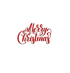 Merry christmas red logo handwritten lettering vector