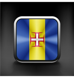 Metal square icon with flag colors of Madeira vector