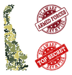 Military camouflage collage of map of delaware vector