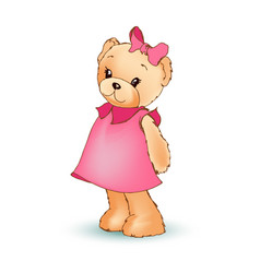 Modest female teddy bear vector