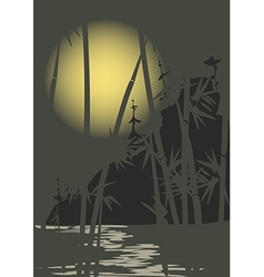 Moon and bamboo vector