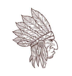 native indian chief head in feather headdress vector image