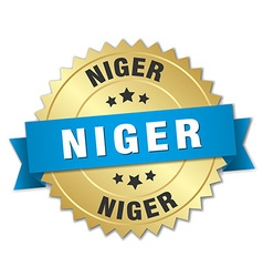 Niger round golden badge with blue ribbon vector