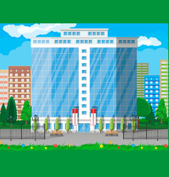 Office building exterior commercial building vector