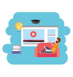 online education cartoon vector image