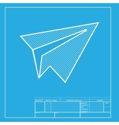 Paper airplane sign White section of icon on vector image