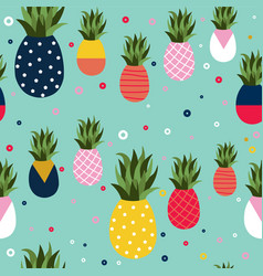 Pineapple fruit retro background pattern art vector