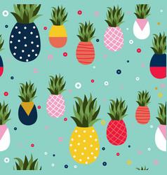 pineapple fruit retro background pattern art vector image