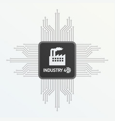 processor with text industry 40 on gray vector image