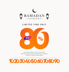 Ramadan kareem discount up to 80 off limited time vector