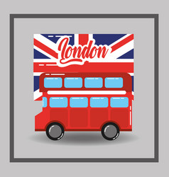 Red london double decker bus flag public transport vector