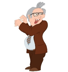 Retro hipster old man in brown jacket vector image