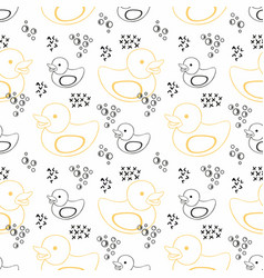 Rubber duck seamless contour pattern for design vector