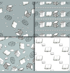 Seamless pattern set with books vector