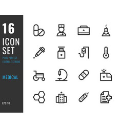 set 16 icons medical thin line style vector image