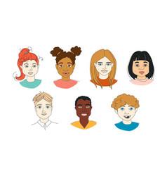 Set kids diversity head portraits line drawing vector