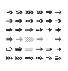 set of directional arrow monochrome signs right vector image