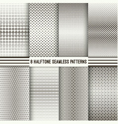 set of halftone seamless patterns vector image