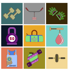 set of icons in flat design gym vector image