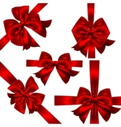 Set of red gift bows Concept vector image