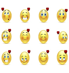 Set valentine emoticons vector image