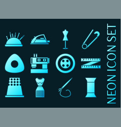 Sewing set icons blue glowing neon style vector