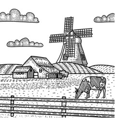 sketch a mill with cow grazing on meadow vector image