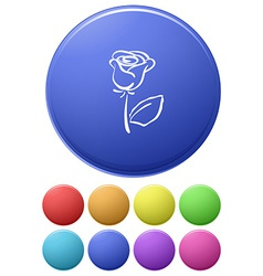Small buttons and a big button with a flower vector image