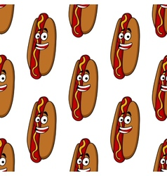 Smiling hot dog seamless pattern vector