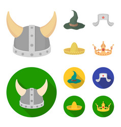 Sombrero hat with ear-flaps helmet of the viking vector