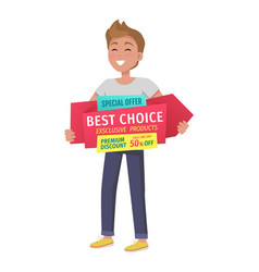 Special offer boy with banner in hands vector