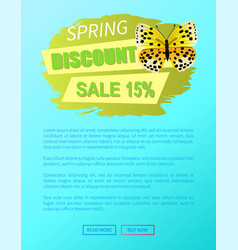 spring discount sale 15 off butterfly yellow color vector image