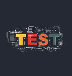 test word for education with icons flat design vector image