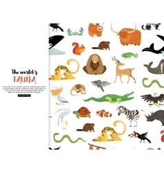 The worlds fauna wild animals eps 10 vector image