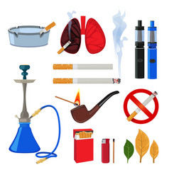 tobacco cigarette and different accessories for vector image
