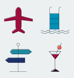 Travel and tourism line icons set silhouette flat vector