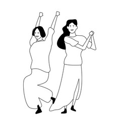 two women friends cartoon in black and white vector image