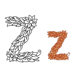 Uppercase letter Z in a foliate font with leaves vector