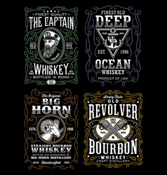 Vintage whiskey label t-shirt design collection vector