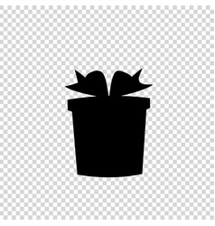 white silhouette of bow wrapped giftbox on vector image