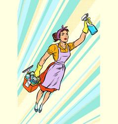 Woman cleaner superhero flying service vector