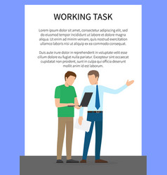 working task poster with text vector image