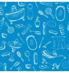 Bathroom Themed Design on Blue Background vector image