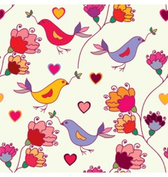 birdsflowers vector image