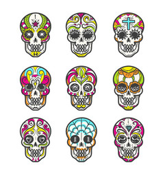 colored sugar skull icons set vector image vector image