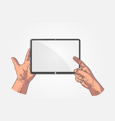 realistic sketch hands hand hold tablet vector image vector image