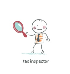 tax inspector with magnifying glass vector image